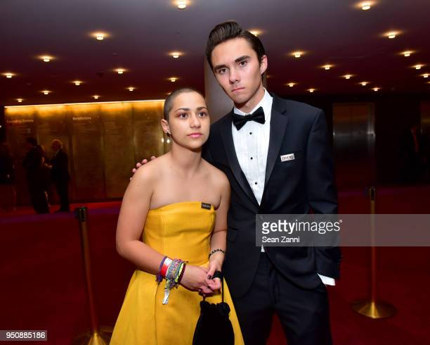 Activists Emma Gonzalez and David Hogg attends the 2018 TIME 100 Gala at Jazz at Lincoln Center on April 24 2018 in New York City