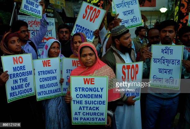 Activists from a Muslim group during a protest to strongly condemn suicide bombers kill nine at Christian church in Pakistan organised by Sara Bangla...