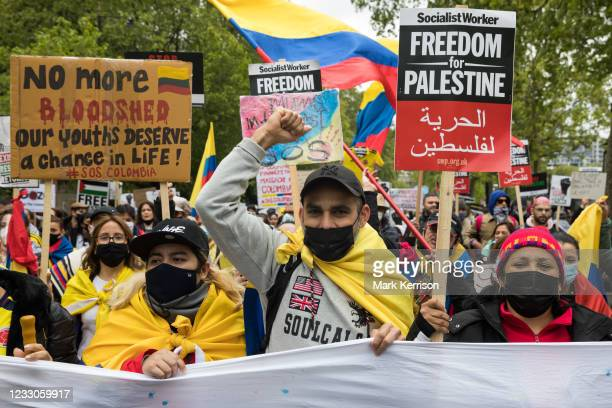 Activists from an International Bloc highlighting current human rights abuses in Palestine, Israel, Colombia and Tigray join tens of thousands of...