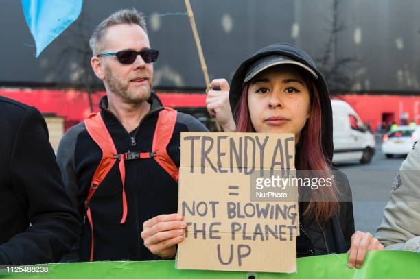 Activists from Extinction Rebellion disrupt London Fashion Week by stopping traffic and creating gridlock between the event venues on 17 February,...
