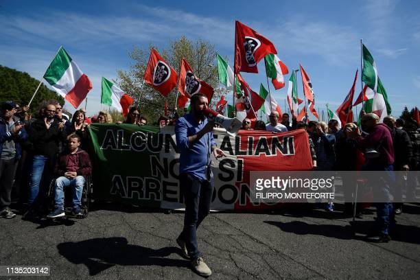 Activists from Italian neo-fascist group CasaPound demonstrate on April 6, 2019 in the Torre Maura district of Rome, two days after Rome residents...