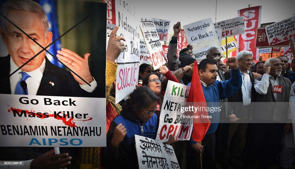 Left Parties Protest Against Israeli Prime Minister Benjamin Netanyahus India Visit