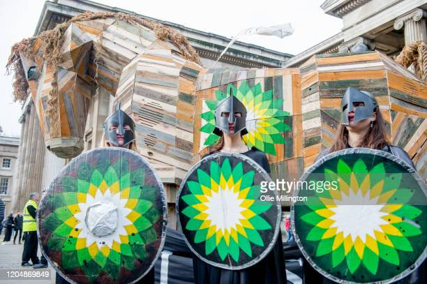 Activists from numerous environmental climate crisis protest groups protest BP sponsorship of cultural exhibitions under the banner of 'BP Must Fall'...