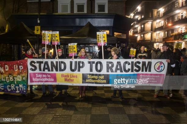 Activists from Stand Up To Racism and the London Anti Fascist Assembly surround the Tea House Theatre and scuffle with Police as the controversial...