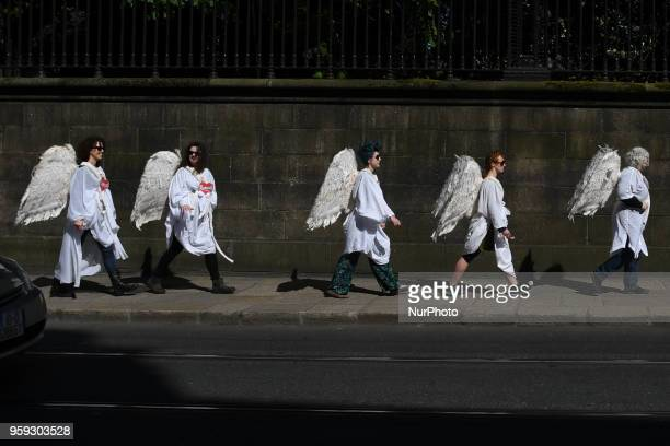 Activists from the 'Angels for Yes' campaign near Trinity College urging a 'yes' vote in the referendum to repeal the eighth amendment of the Irish...