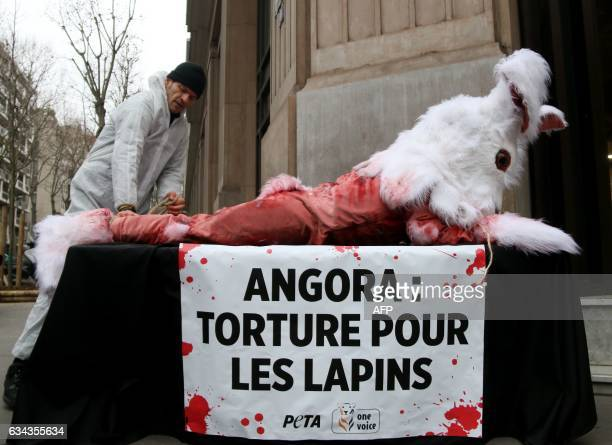 Activists from the animal rights organisation People for the Ethical Treatment of Animals display a banner which translates as 'Angora Torture for...