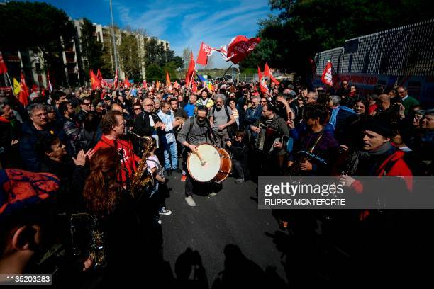 Activists from the anti-fascist National Association of Italian Partisans and from the Italian General Confederation of Labour stage a...