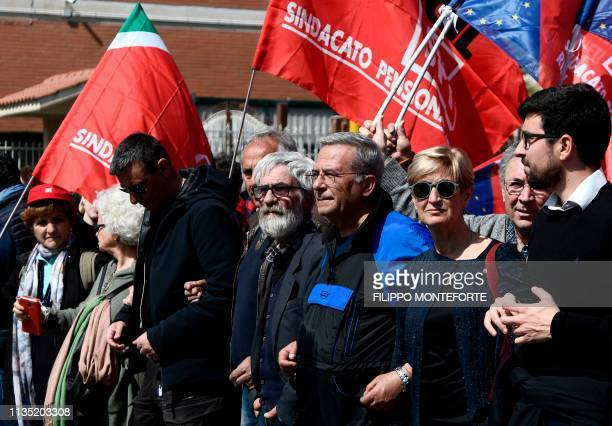 Activists from the anti-fascist National Association of Italian Partisans , from the Italian General Confederation of Labour and from the CGIL...