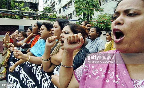 Activists from the Bangladesh main opposition party Awami League shout slogans during a nationwide dawntodusk general strike called by the Awami...