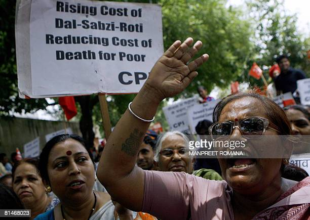 Activists from the Communist Party of India shout slogans during a protest against a hike in petroleum products in New Delhi on June 6 2008 The...