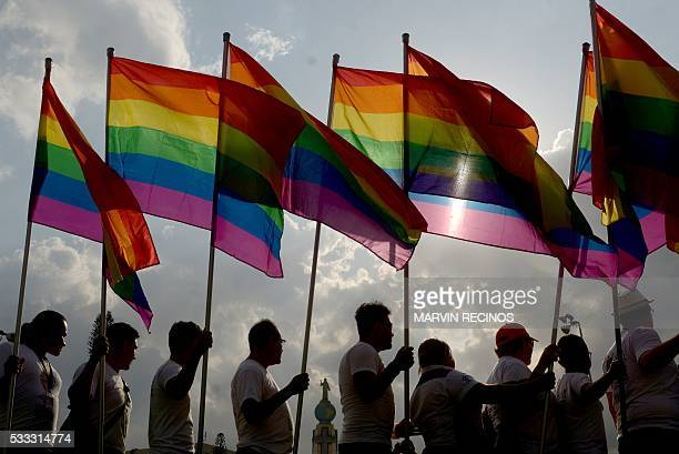 Activists from the Lesbian Gay Bisexual Transgender Transvestite Transgender and Intersex community participate in a march against homophobia on May...