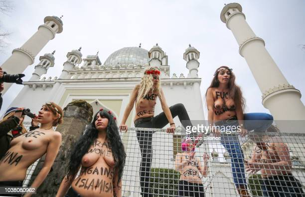 Activists from the women's rights group Femen protest in front of a Mosque inBerlinGermany 04 April 2013 As part of the international 'Topless...