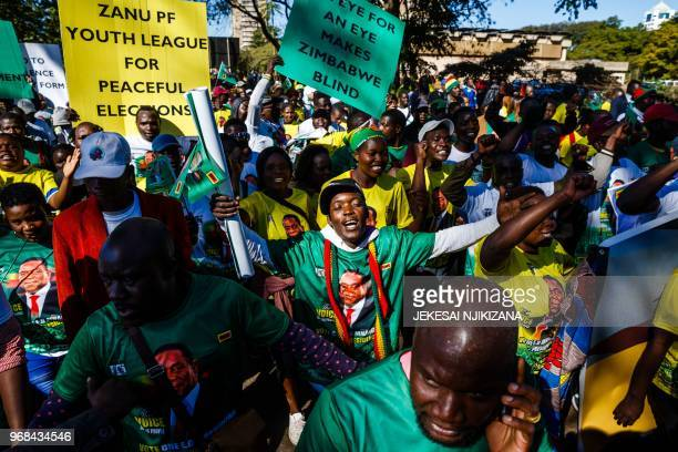 Activists from Zimbabwe's ruling party Zimbabwe African National Union Patriotic Front Youth League cheer as they march for peace ahead of the July...