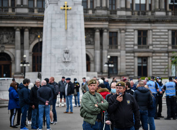 GBR: Far-Right Activists Gather At Glasgow Cenotaph Amid Black Lives Matter Protest