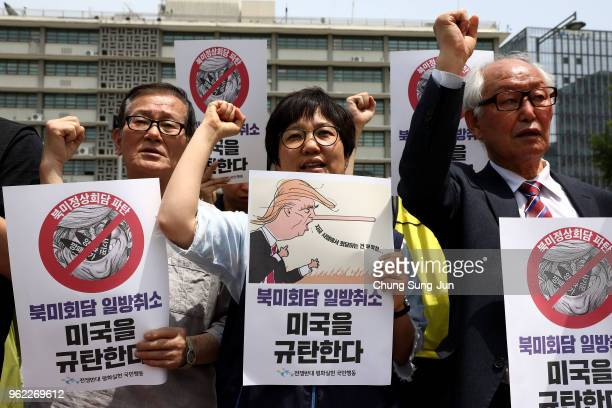Activists gather in front of the US embassy to demand peace for the Korean peninsula after the cancellation of the US and North Korea summit on May...