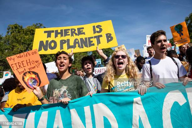 Activists gather in John Marshall Park for the Global Climate Strike protests on September 20 2019 in Washington United States In what could be the...