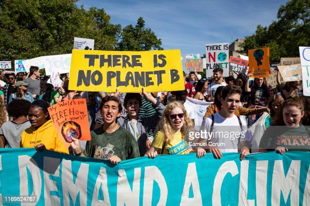 Activists gather in John Marshall Park for the Global Climate Strike protests on September 20, 2019 in Washington, United States. In what could be...