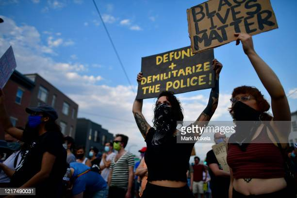Activists gather in protest outside the 26th Police Precinct on June 3 2020 in Philadelphia Pennsylvania Protests continue to erupt in cities...