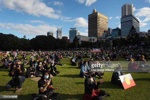 Activists gather in The Domain to rally against Aboriginal and Torres Strait Islander deaths in custody on July 05 2020 in Sydney Australia Since the...