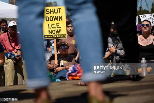 Activists gather to protest ICE and the Trump administrations immigration and detention policies in Los Angeles California on July 21 2018 Protesters...