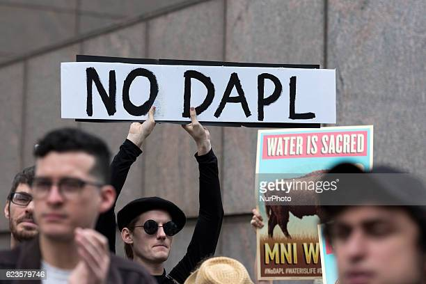 Activists gathered in front of the US Army Corps of Engineers offices in downtown Los Angeles to protest the Dakota Access Pipeline on November 15...