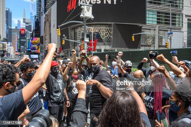 Activists Hawk Newsome Nupol Kiazolu Van Hooks Dannelly Rodriguez and IamChelseaIam attend a Black Lives Matter rally in Times Square on June 07 2020...