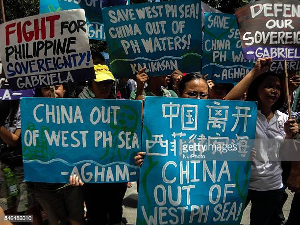 Activists hold a protest against China in front of the Chinese Consulate in Makati City south of Manila Philippines on July 12 ahead of UN tribunal...