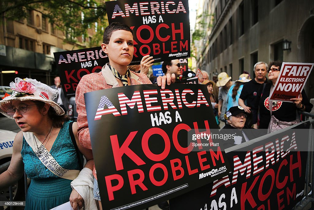 Anti-Koch Brothers Protest Held Outside Their Manhattan Apartment : News Photo