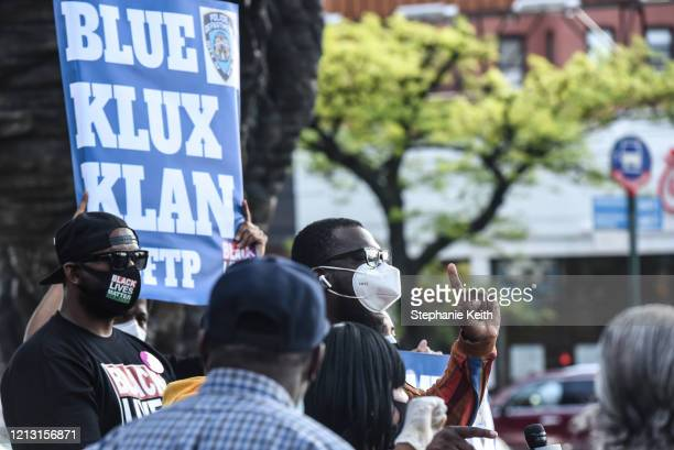 Activists hold a rally in front of Barclays Center on May 15 2020 in the Brooklyn borough in New York City The rally protests alleged police...