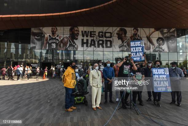 Activists hold a rally in front of the Barclays Center on May 15 2020 in the Brooklyn borough in New York City The rally protests alleged police...