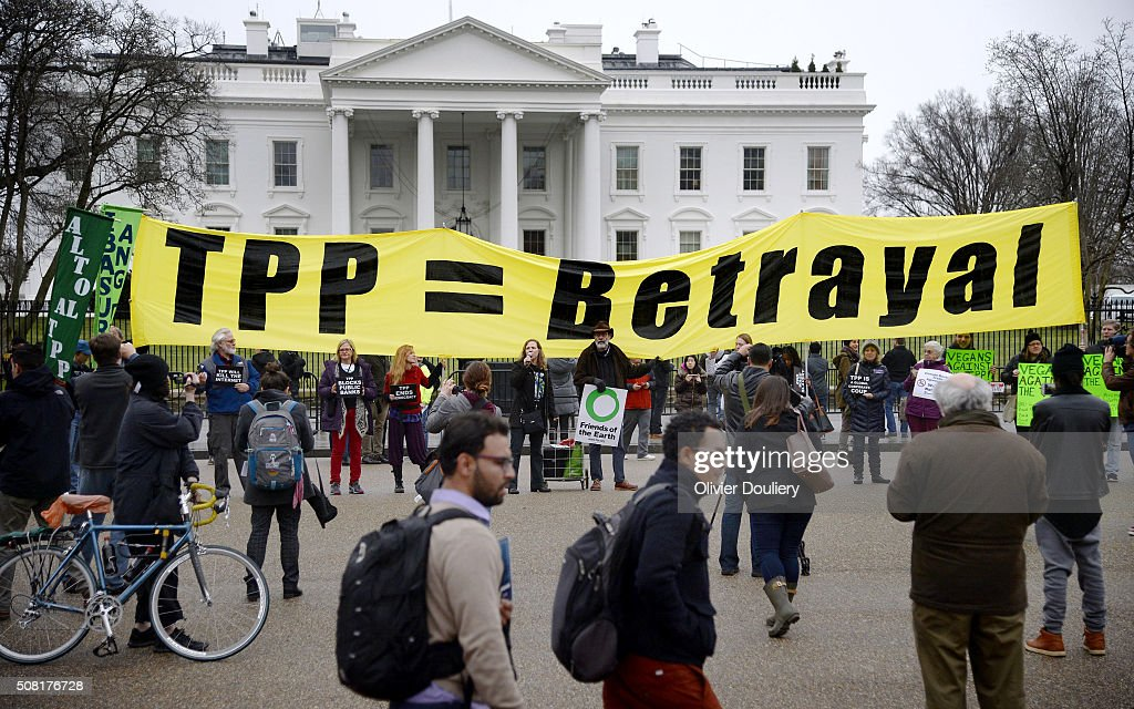 Activists Hold Rally Against The Trans-Pacific Partnership : News Photo