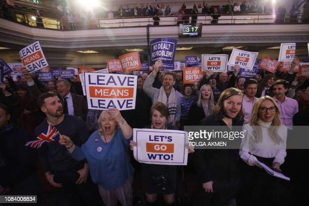 TOPSHOT Activists hold placards at a political rally entitled 'Lets Go WTO' hosted by proBrexit lobby group Leave Means Leave in London on January 17...