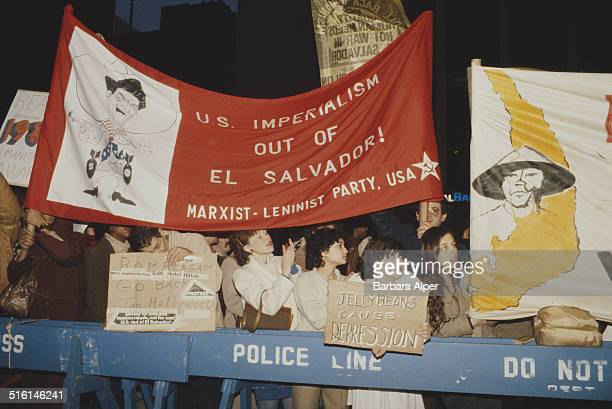 Activists holding a Marxist–Leninist Party USA banner at a protest against US involvement in El Salvador New York City April 1987