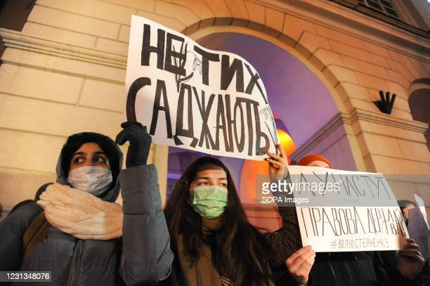 Activists holding placards expressing their opinion during the demonstration. In support of Serhiy Sternenko under the slogan Today - him, and...