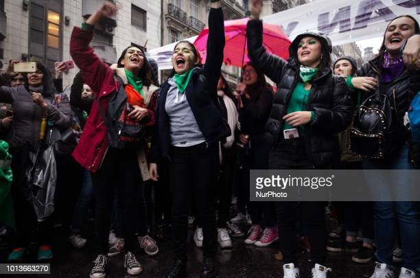 Activists in favor of legal abortion in Argentina protest nearby the nation's Senate this wednesday 8th Argentine's senators starting debate the...
