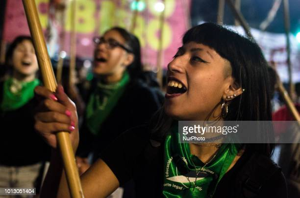 Activists in favor of legal abortion in Argentina start gathering in front the country's Senate in Buenos Aires in the evening of Tuesday 7th On...