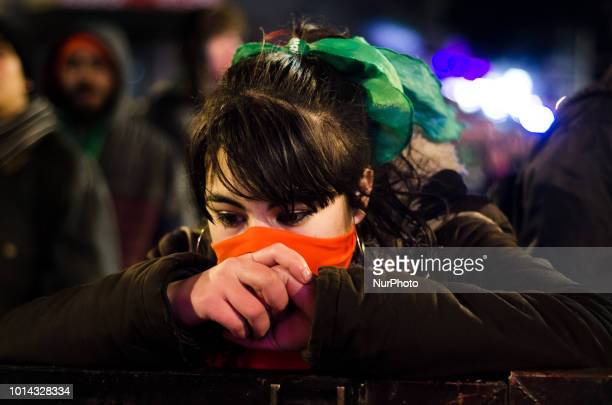 Activists in favor of the legal abortion react in Buenos Aires Argentina on August 9 2018 to the voting by the Argentine Senate against the bill that...