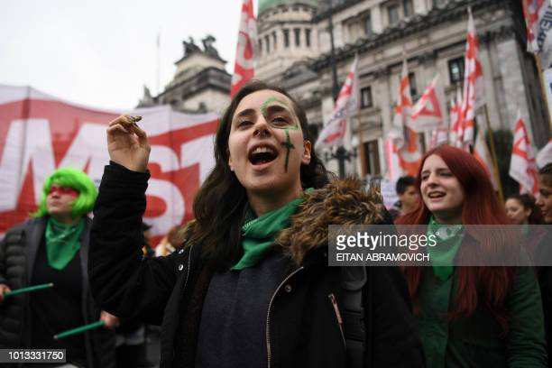 Activists in favour of the legalization of abortion demonstrate outside the National Congress in Buenos Aires Argentina on August 08 2018 Argentine...