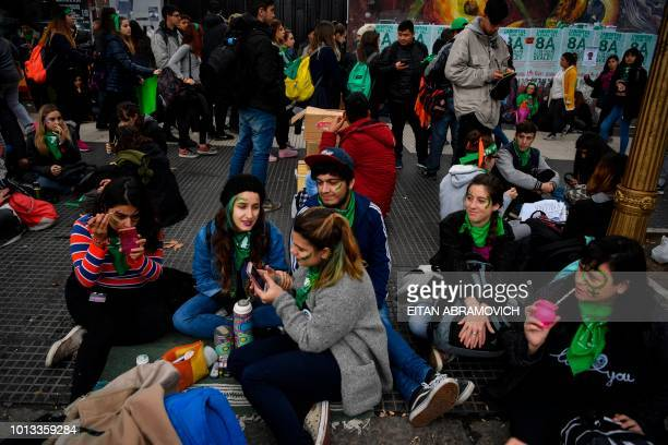 Activists in favour of the legalization of abortion wait in the surroundings of the National Congress in Buenos Aires Argentina on August 08 2018...