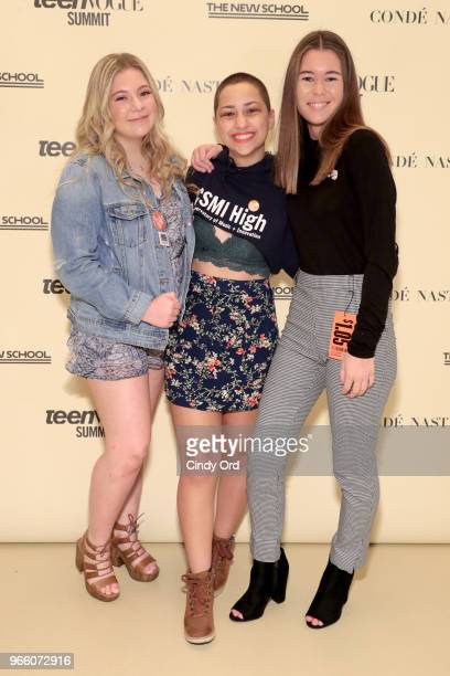Activists Jaclyn Corin Emma Gonzalez and Sarah Chadwick attend Teen Vogue Summit 2018 #TurnUp Day 2 at The New School on June 2 2018 in New York City