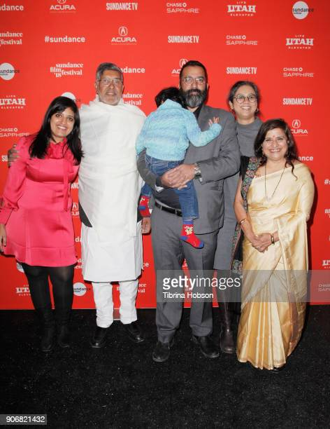 Activists Kailash Satyarthi Sumedha and their family attend the KAILASH Premiere during the 2018 Sundance Film Festival at The Marc Theatre on...