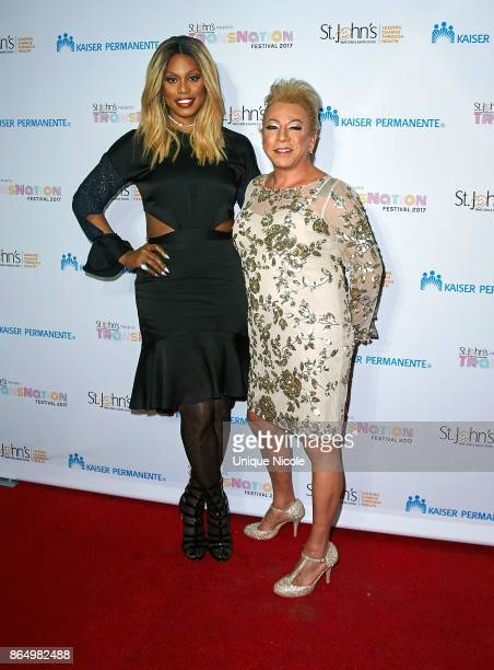 Activists Laverne Cox and Bamby Salcedo attend the 2nd Annual TransNation Festival Closing Gala 'Eleganza' at Cicada on October 21 2017 in Los...