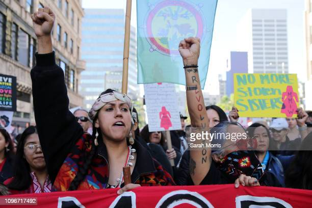 Activists march for missing and murdered Indigenous women at the Women's March California 2019 on January 19, 2019 in Los Angeles, California....