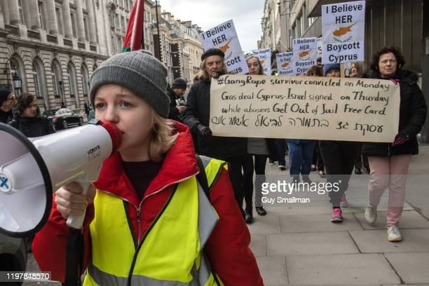 Activists march from the Cypriot Embassy to the Foreign Office on January 6 2020 in London England A 19yearold British woman was convicted of falsely...