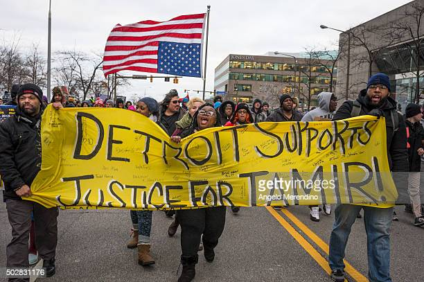 Activists march on E 9th St on December 29 2015 in Cleveland Ohio Protestors took to the street the day after a grand jury declined to indict...
