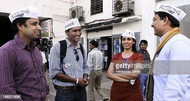 Activists of Aam Aadmi Party Alok Kumar Munish Raizada Manpreet Kaur Sodh and Varun Gupta who stay abroad campaigning for AAP for coming Assembly...