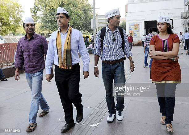 Activists of Aam Aadmi Party Alok Kumar Varun Gupta Munish Raizada and Manpreet Kaur Sodh who stay abroad campaigning for AAP for coming Assembly...