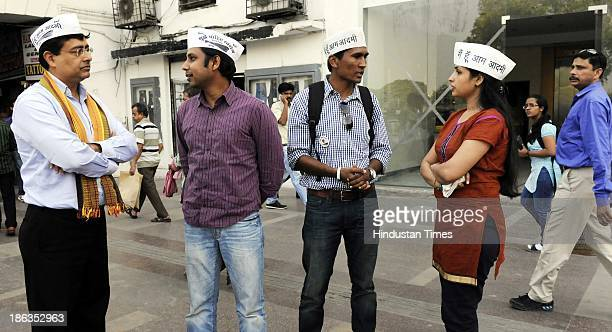 Activists of Aam Aadmi Party Varun Gupta Alok Kumar Munish Raizada and Manpreet Kaur Sodh who stay abroad campaigning for AAP for coming Assembly...
