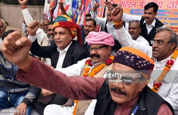 Activists of Akhil Bhartiya Samagike Kshatriya Bhaichara protesting three day Dharna against Sanjay Leela Bhansali's upcoming film Padmavati at...
