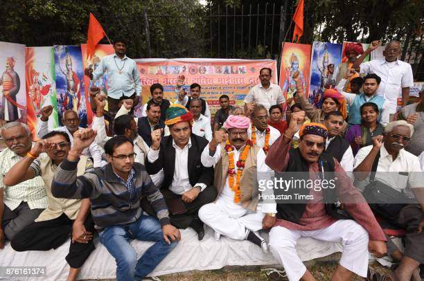 Activists of Akhil Bhartiya Samagike Kshatriya Bhaichara protesting three day Dharna against Sanjay Leela Bhansali's upcoming film Padmavati at...